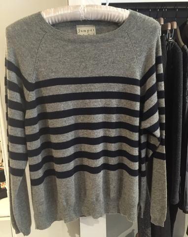 Jumper 1234 - Grey Cashmere jumper with navy stripes
