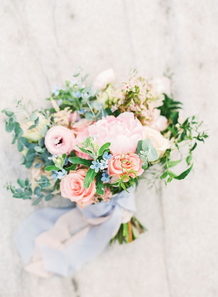 Rose, peony and greenery wedding bouquet