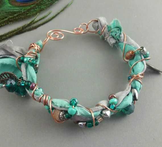 Teal silver and beaded copper sari silk ribbon by BeadOnAWireLuv