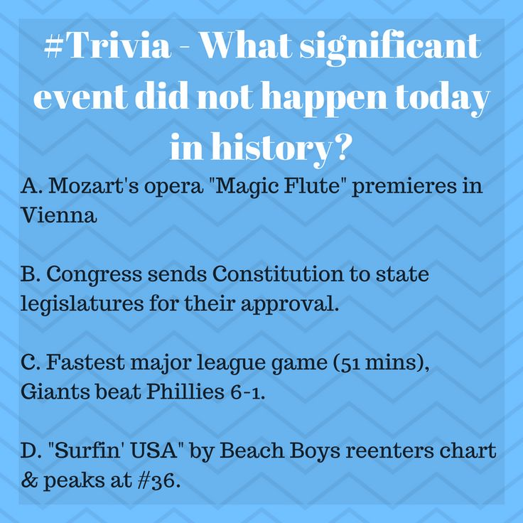 """#Trivia - What significant event did not happen today in history?  A. Mozart's opera """"Magic Flute"""" premieres in Vienna B. Congress sends Constitution to state legislatures for their approval. C. Fastest major league game (51 mins), Giants beat Phillies 6-1. D. """"Surfin' USA"""" by Beach Boys reenters chart & peaks at #36."""