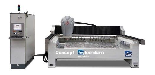 The CMS Concept, featuring 3 or 4 interpolated axis is designed for machining medium-thickness stone slabs and blocks, it can carry out any type of rough or polished edge contouring, as well as milling, drilling, countersinking, recessing, emptying, bas-relief and writing. It is ideal for small-...