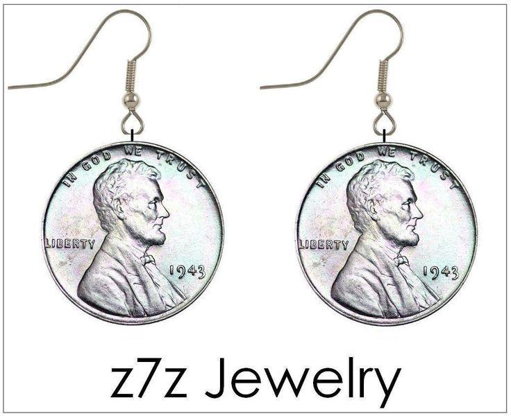 Steel Wheat Penny Coin Earrings - 1943 Authentic Ww2 Silver Ear Wire Jewelry Z7Z