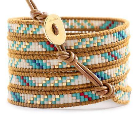 Turquoise Mix Beaded Wrap Bracelet on Henna Leather - Chan Luu