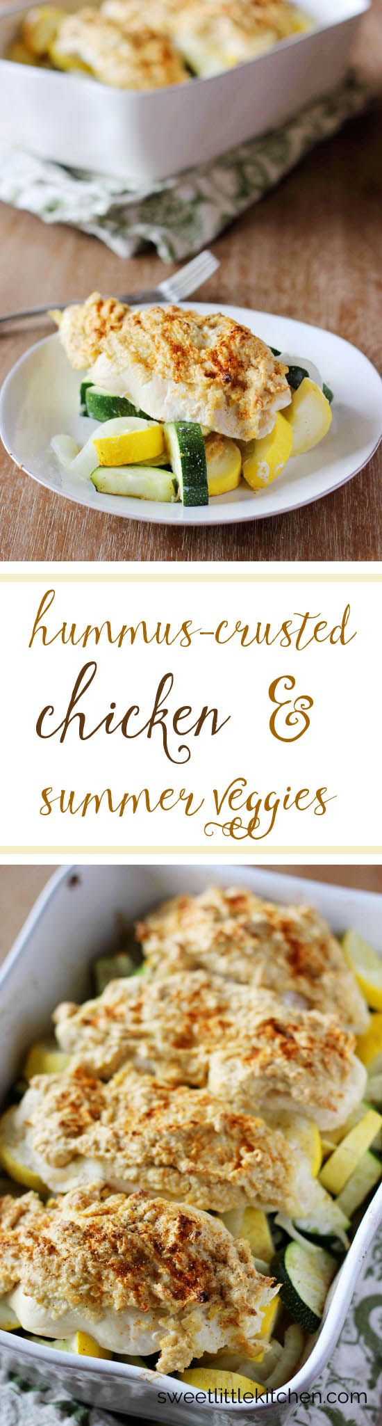 Hummus-Crusted Chicken and Summer Veggies is a delicious, one-dish meal. It's a perfect weeknight meal the whole family will love!