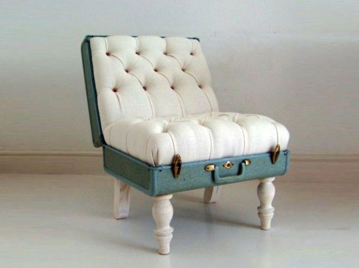 fabriquer une chaise originale diy en vieille valise avec rembourrage