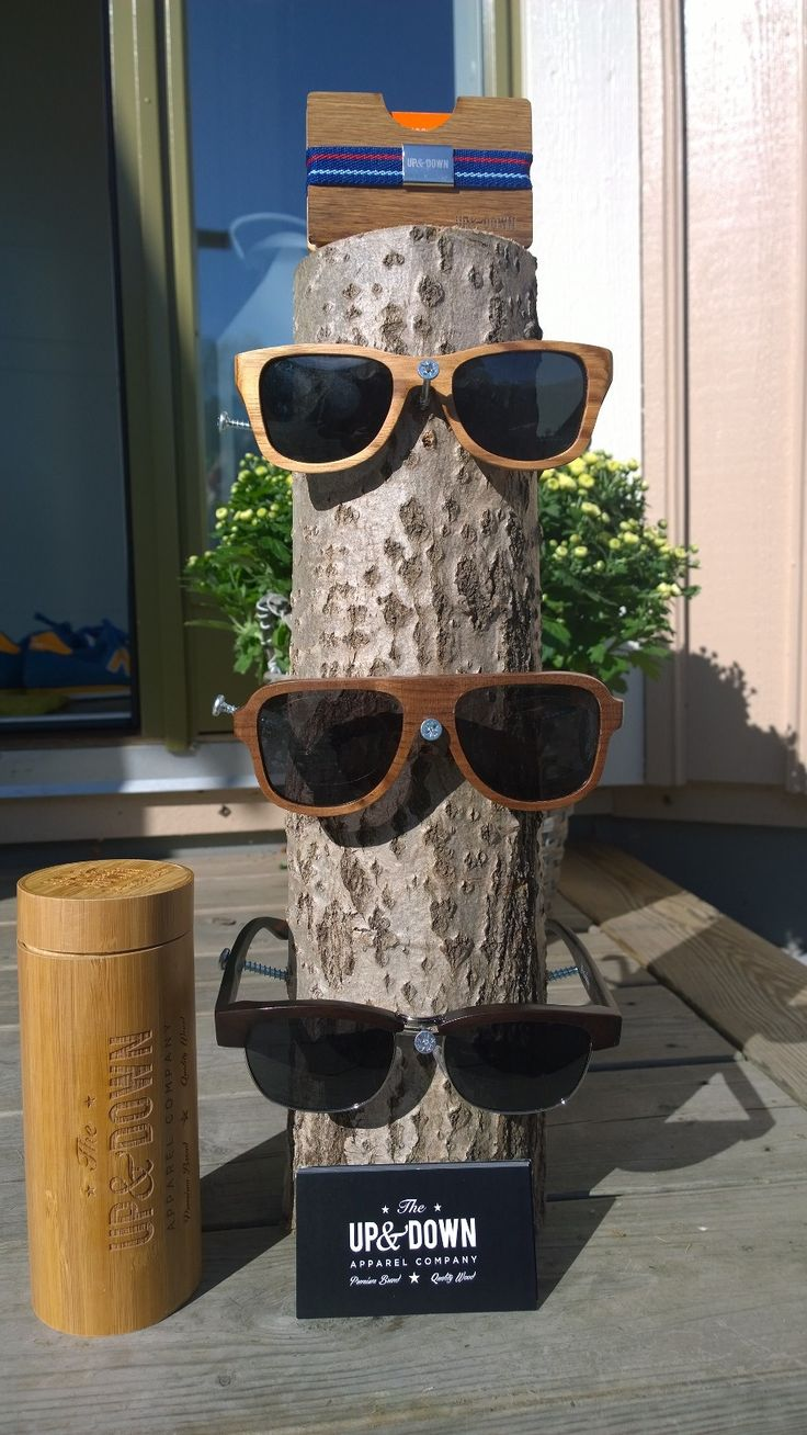 wooden fashion sunglasses display from Up&Down- The swedish brand