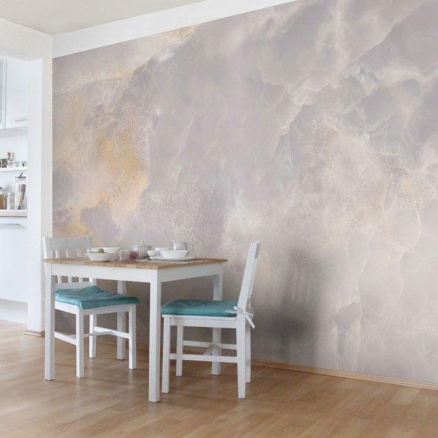 Marmor Tapete - Onyx Marmor Grau - Vlies Wandtapete Breit