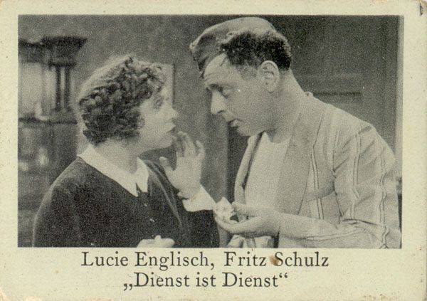 """Dienst ist Dienst""  (1931)   Directed by Carl Boese   Cast:  Lucie Englisch, Ralph Arthur Roberts, Fritz Schulz, Maly Delschaft, Fritz Spira, Herbert Kiper, Ernst Rückert, Berthe Ostyn, Hugo Fischer-Köppe, Ernst Behmer"