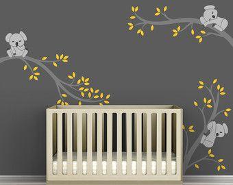 Kinderen muur Decal Medium grijze houtskool gele door TheKoalaStore