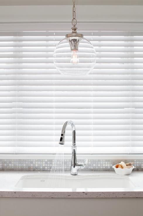 Clear Glass Globe Pendant Over Kitchen Sink, Transitional, Kitchen