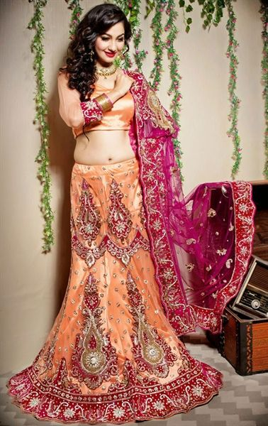 Picture of Ravishing Peach Puff Designer Lehenga Choli