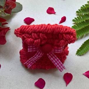 Red bobble purse. #crochet #handmade #purse #bomboniere