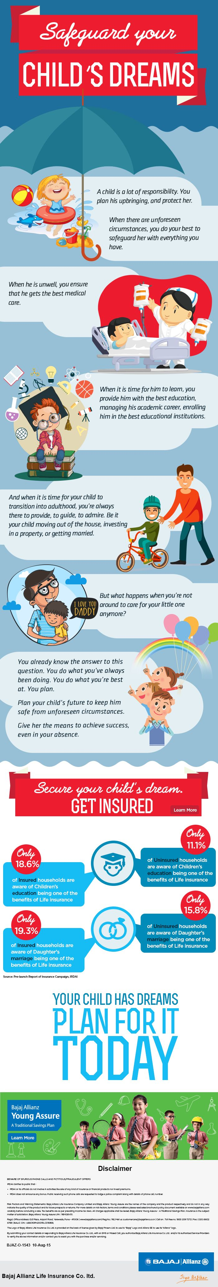 Bajaj Allianz Life Insurance Child plans and policies offer security against constraints like inflation and rising educational expenses. https://www.bajajallianz.com/Corp/child-insurance-plans/child-insurance-plans.jsp