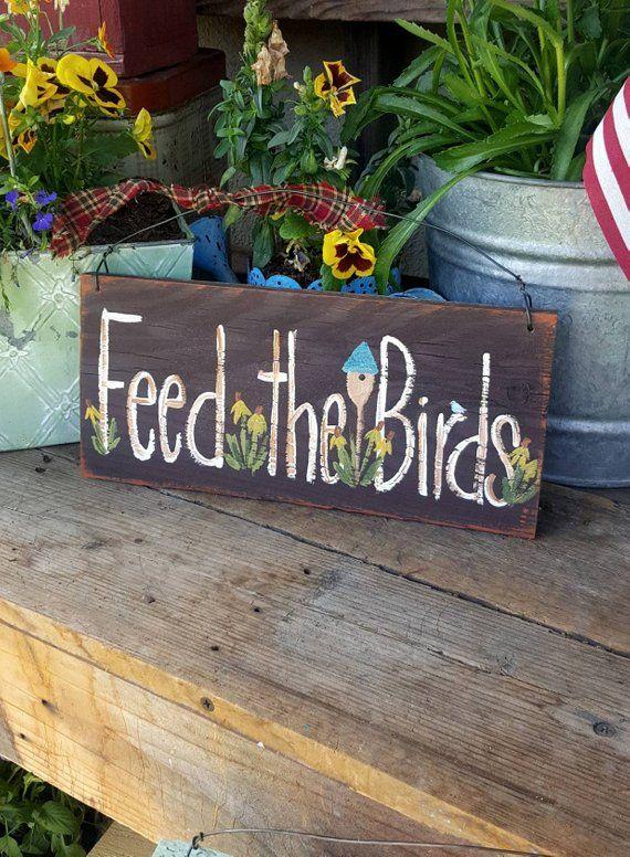 Feed The Birds Signoutdoor Garden Signmary Poppins Etsy Garden Signs Diy Garden Signs Backyard Signs