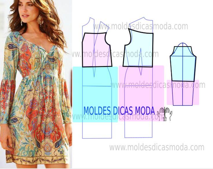Analise o desenho da transformação do molde de vestido de verão estampado para poder fazer a leitura de forma correta. Desta forma simplifica o seu...