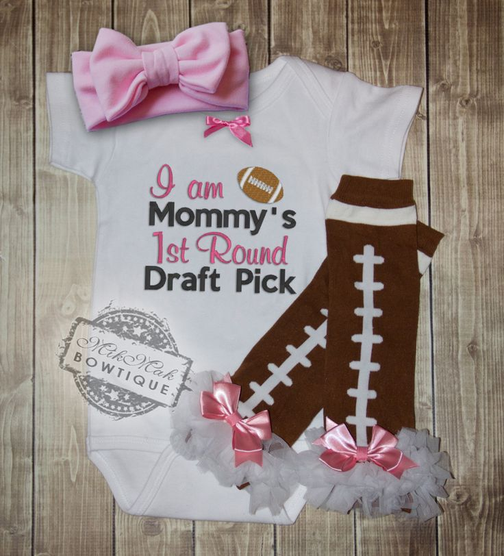 I am Mommy's 1st Round Draft Pick, Football, Pink Football, Girl Football Outfit, Baby Girl Football Outfit, Baby Shower Gift, Baby Draft - pinned by pin4etsy.com