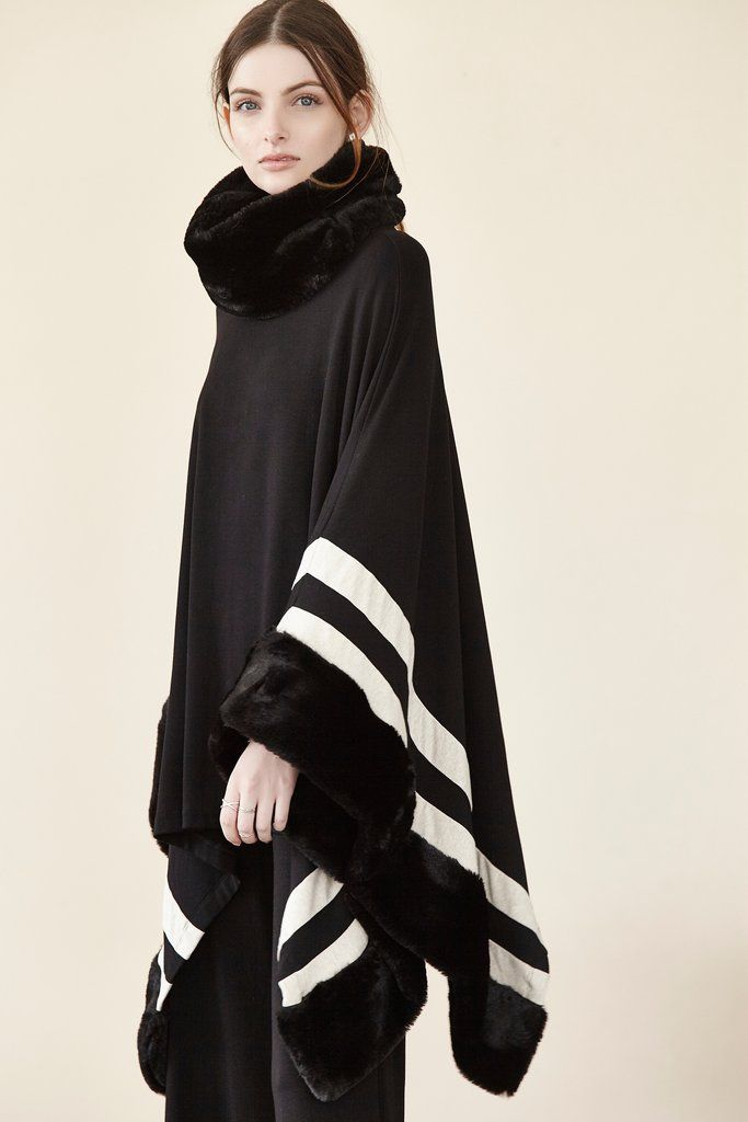 Cowl Neck Stripe Poncho