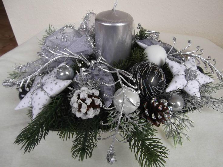Tischgesteck Advent Weihnachtsgesteck Grau Silber Tilda