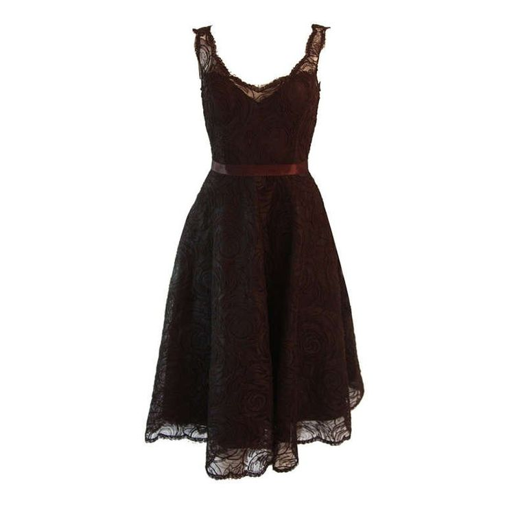 Monique Lhuillier Brown Lace Cocktail Dress Size 8 | From a collection of rare vintage evening dresses and gowns at https://www.1stdibs.com/fashion/clothing/evening-dresses/