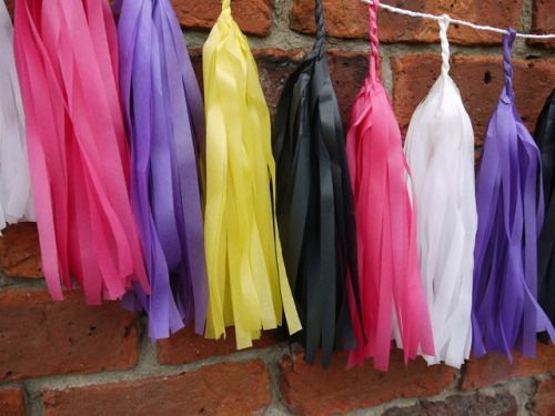 JEM large tassel garland Handmade from white, yellow, black, purple and pink tissue   Luxury handmade party decorations Check out our store - paperstreetdolls.etsy.com