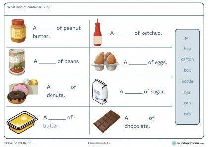 Ficha de los envases en inglés para niños de sexto de primaria