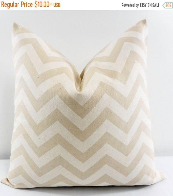SALE Beige Pillow cover. Chevron Print  Sofa Pillow cover.