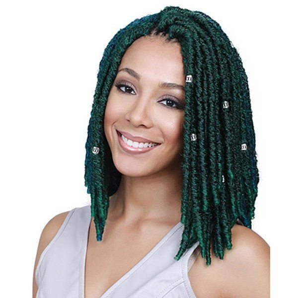 """- Premium fiber braid - Crochet braid pre-made loop - African roots braid collection - Natural texture - Includes 3 Pcs of 8"""" 10"""" 12"""" - Style color shown: T1B/DGREEN"""
