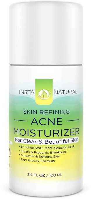 InstaNatural Acne Moisturizer for Face - Clearing & Moisturizing Cream for Oily & Acne Prone Skin - Made With Salicylic Acid - Reduces Breakouts, Pimples & Blemishes - 3.4 OZ