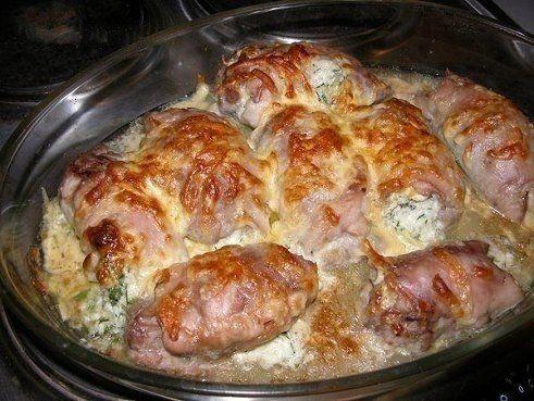 Куриные рулетики, фаршированные яйцом, сыром и зеленью на ужин. | Школа шеф-повара