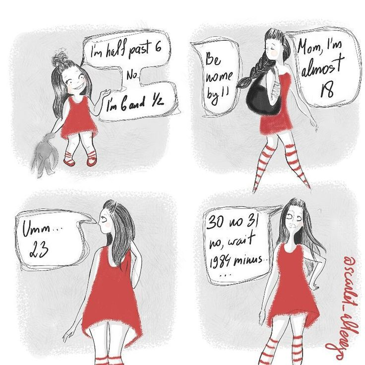 """Of Red and Other Colors (@scarlet_alterego) on Instagram: """"Once upon a time a friend's older sister asked me how old I was... And for some reason I thought answering in clock terms was the grown up thing to do  #scarlet_alterego #illustration #cartoon #comic #characterdesign #characterdesign #story #diary #self #humour #ofredandothercolors #toronto"""