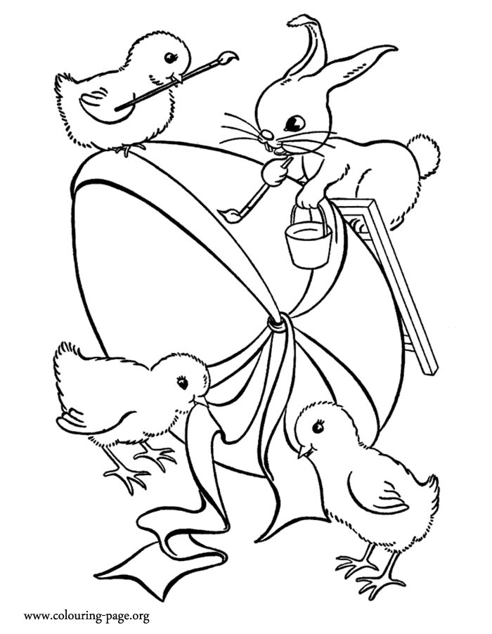 In This Awesome Coloring Sheet A Little Bunny And His Friends Are Decorating Big Easter PagesEgg