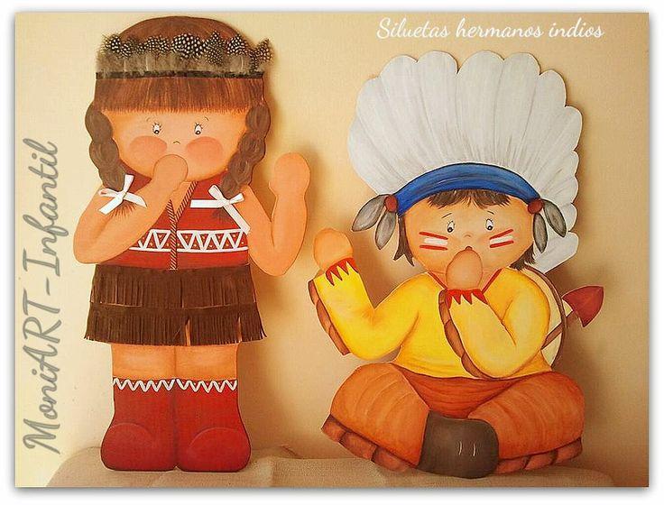 Siluetas de madera ni os indios apaches decoracion - Siluetas madera infantiles ...