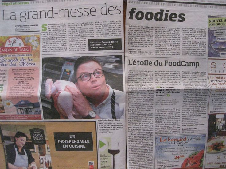 Une double page sur l'événement du FoodCamp dans le journe Le Soleil