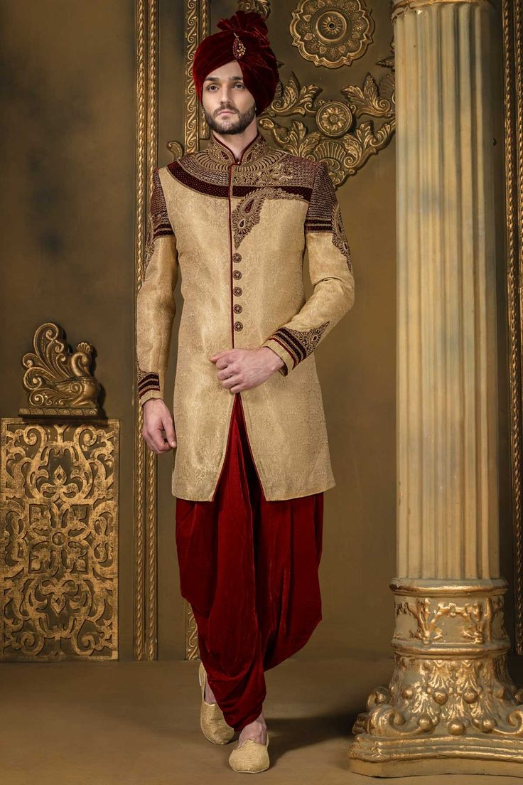 Light #gold & dark #red khinkwab & #velvet bandh gala angelic #sherwani with full sleeves -IW330