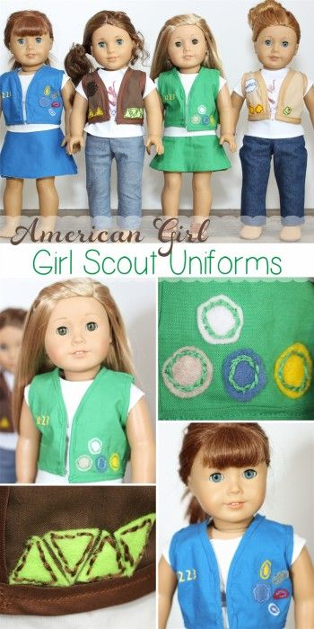 So stinking cute! American Girl Doll clothes sewing pattern to make Girl Scout Uniforms for your American Girl dolls!