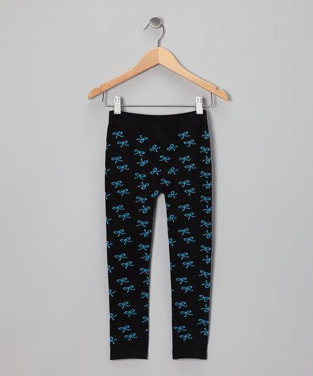 Black & Turquoise Bow Leggings - Girls
