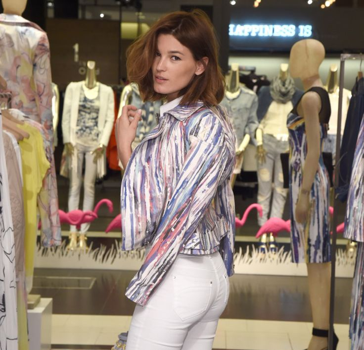 @hannelim stopped by our Art Atelier at @bloomingdales 59th Street to pick up a painted stripe print leather jacket for her summer wardrobe.