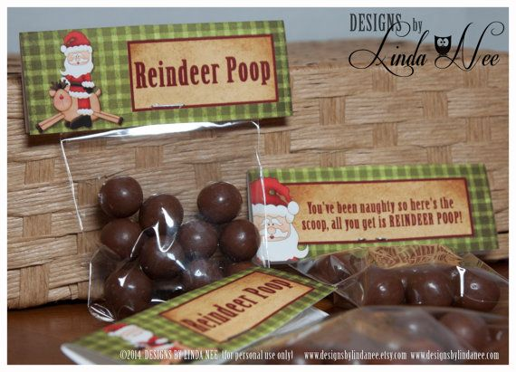 "Reindeer Poop - Treat Bag Topper 4"" - Printable - Party Package - Rudolph - Craft Fair - Favors - Quote - Party Favors - Winter  Reindeer Poop - Treat Bag Topper - Printable treat bag toppers with poem that you can give away as gifts. They are also perfect for all of your"