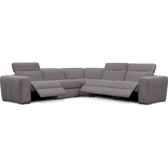 Tino 5 Piece Dual Power Reclining Sectional Gray Value City