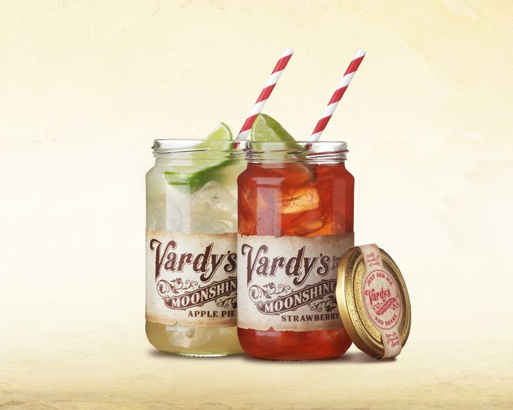 Vardy's Moonshine - Served in glass jars with ice and lime. #jars #ServingShot #AirborneCreative #ApplePie #Strawberry