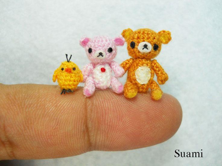 Translate Japanese Amigurumi : Rilakkuma - Tiny Amigurumi Crochet Miniature Set of ...