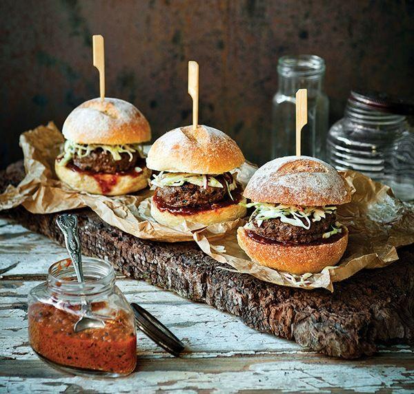 Kangaroo burgers with apple & cabbage slaw
