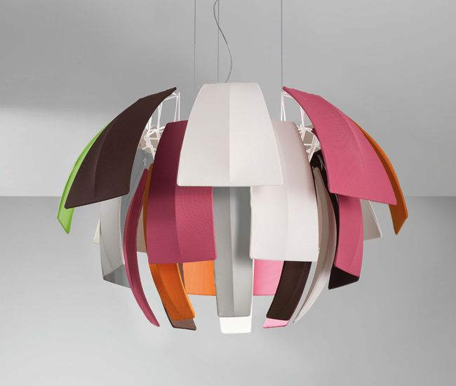 Axo layers fuchsia- and lime-green-coloured fabric diffusers atop a white steel frame, creating a punchy pendant that resembles a tropical bird's puffed-up plumage.