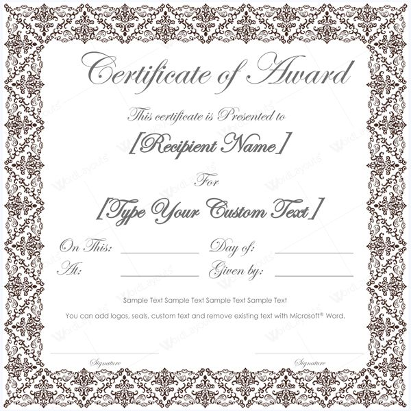 99 best Award Certificate Templates images on Pinterest - certificate template for microsoft word