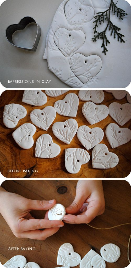 Salt dough ornaments with embossed pine branches.