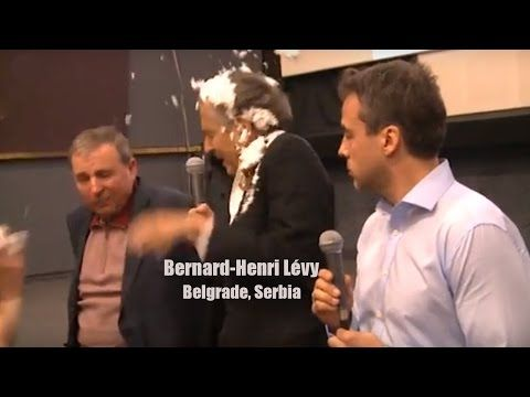 """Murderer, leave Belgrade! Bernard Levy advocates imperialist murders!"" - Jewish French philosopher gets pied in face in Belgrade - VIDEO"