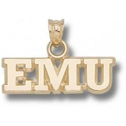 "Eastern Michigan Eagles ""EMU"" 1/4"" Pendant - 14KT Gold Jewelry"