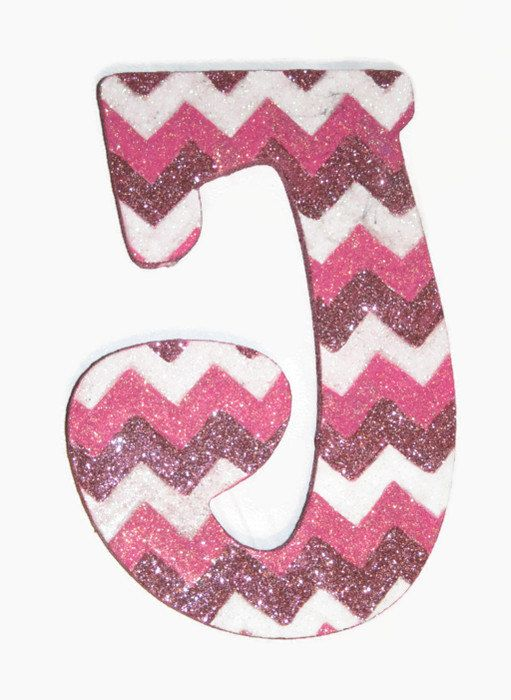 GLITTER Chevron Print Decorative Wall Letters Nursery by Sastara