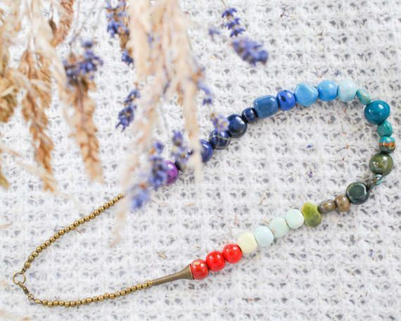 Kazuri Bead Rainbow Necklace - Rainbow Pride Necklace - Rainbow Wedding - LGBT Pride Necklace - LGBT Jewelry - Pride Jewelry - Statement by TheCoastalDesert The Coastal Deserthandmade jewellery jewelry etsy boho african