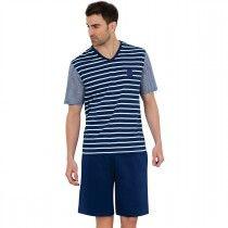 Pyjama court style marin